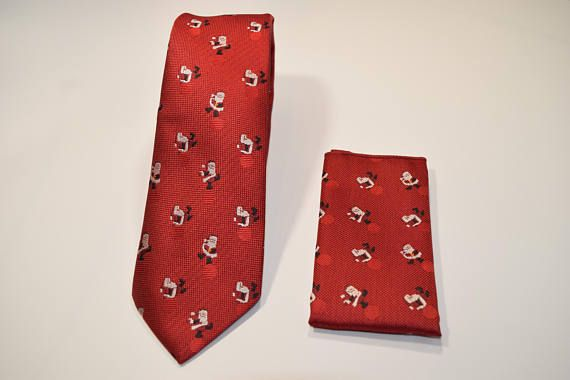 Set Corbata y pañuelo rojo oscuro de navidad con dibujos Santa