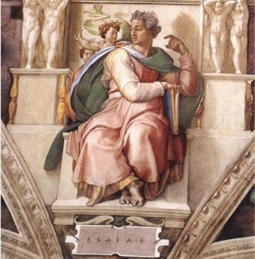 -미켈란젤로 [이사야] 바티칸 시스티나 예배당의 천정화 일부  -이탈리아 르네상스 시대의 작품들을 모아 그 특징을 살펴보고 작가 별로도 분류해 볼 것.