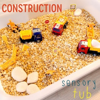 Sensory Tub - construction theme