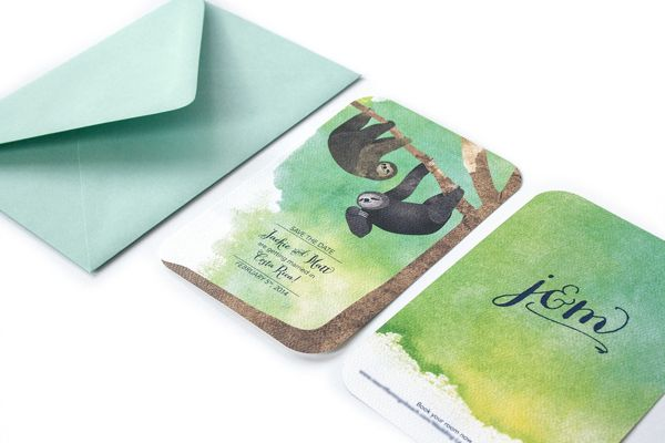 Sloth Save-the-Dates by Danielle Sayer, via Behance