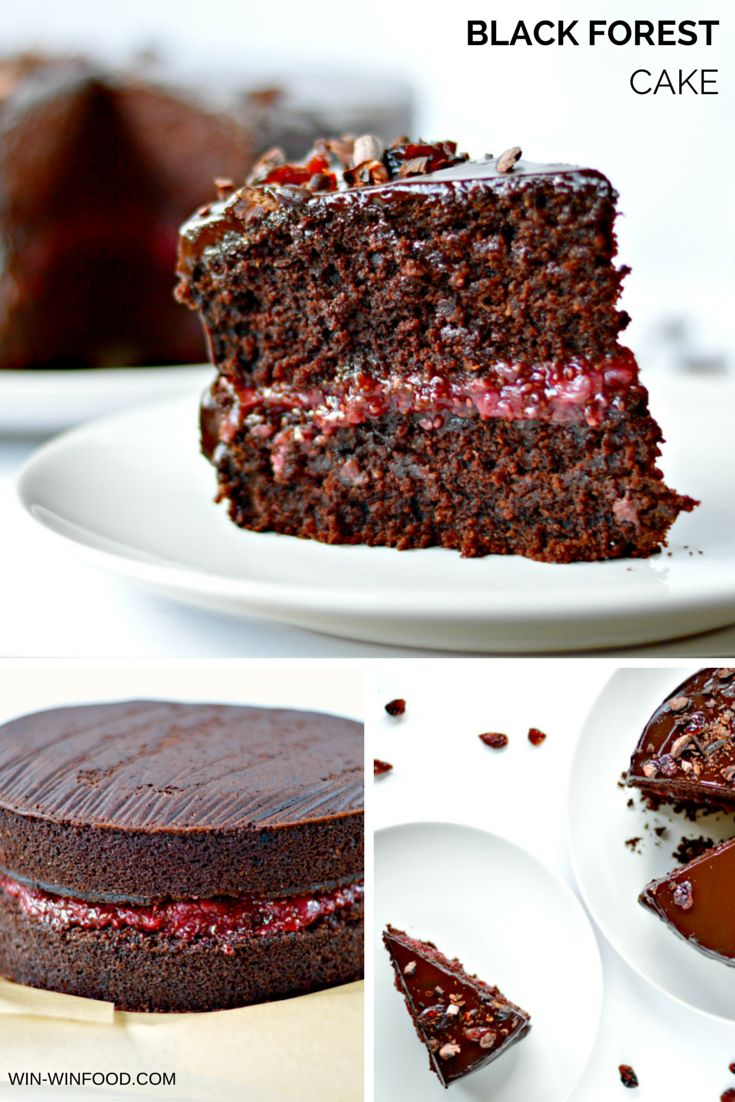 Black Forest Cake - Decadent combination of moist chocolate cake, sour cherry filling and luscious chocolate frosting.