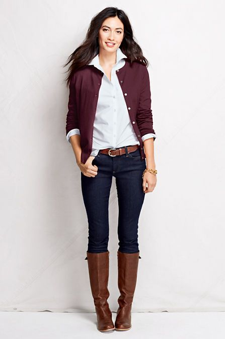Burgundy never looked so good. Supima Cardigan, Jeans, No Iron Pinpoint and Blakely Boots from Lands' End.