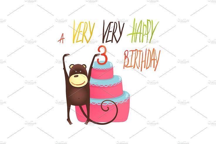 Monkey Cake Three Years Old Birthday by Popmarleo Shop on @creativemarket
