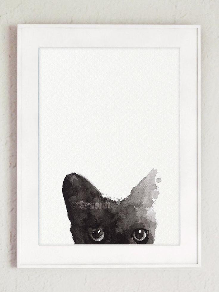 Black Cat Painting Custom Pet Portrait Black Kitty Watercolor Cat Art Print by ColorWatercolor on Etsy
