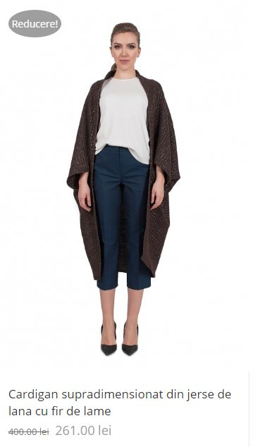 Cardigan supradimensionat din jerse de lana cu fir de lame / Oversized Cardigan made of woolen jersey with wired blades #sales2016