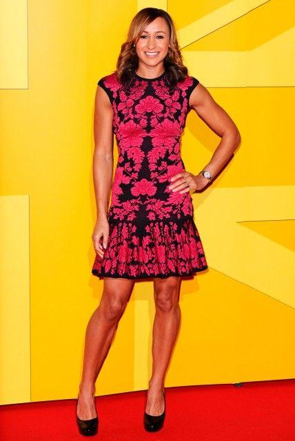 Jessica Ennis wearing Alexander McQueen at the UK Athletics Gala Dinner in London