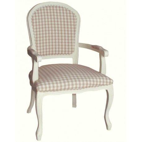 Krzesło prowansalskie o ciekawym kształcie, oraz o dekoracyjnym obiciu w kratkę.  Więcej na: www.lawendowykredens.pl