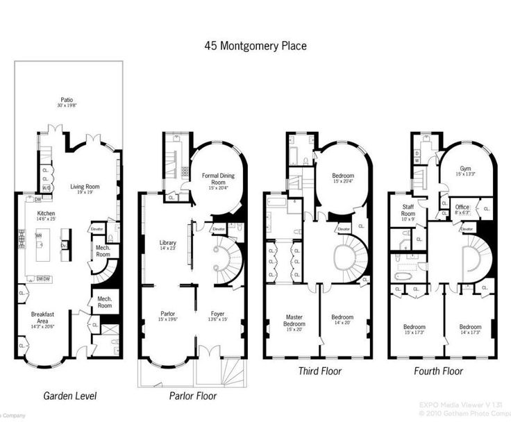 937 best images about houseplans on pinterest farmhouse for Typical brownstone floor plan