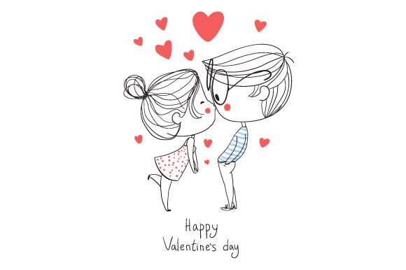 Valentine's Day. Boy and girl kissin by NatalyS on Creative Market