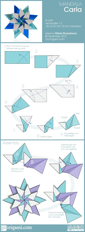 Mandala Carla. Hermoso y sencillo origami, con 8 módulos rectangulares.