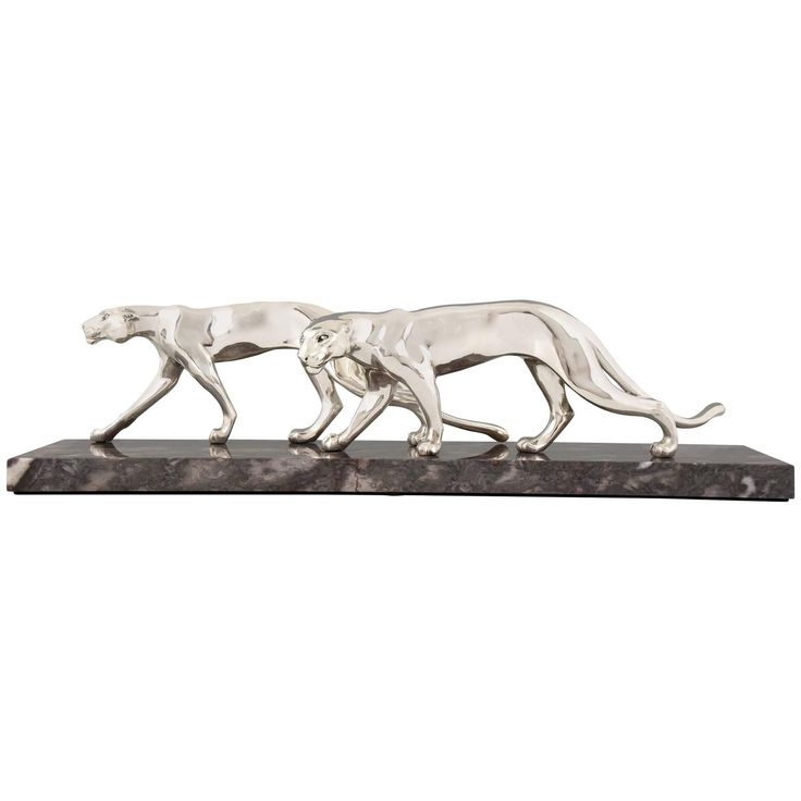 French Art Deco Silvered Panther Group by M. Font, 1930