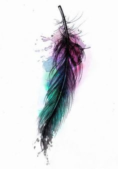 raven feather watercolour tattoo - Google Search