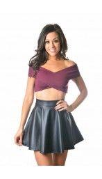 LEATHERETTE SKATER Skirt
