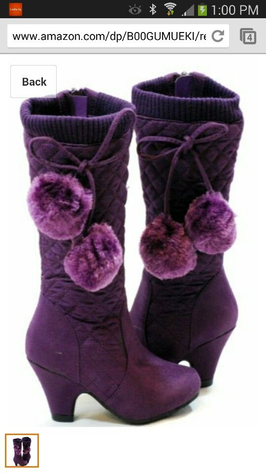 Purple high heeled boot for little girls | For My Girls ...