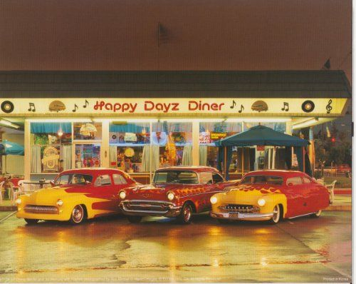 Just Awesome! Add this happy dayz diner chevy bel mercury classic vintage car art print wall poster which will bring your walls to life with modern and innovative design. This wonderful piece is perfect for your home décor and goes well with all décor style. Hurry up and grab this wonderful wall poster for its durable quality and high degree of color accuracy.
