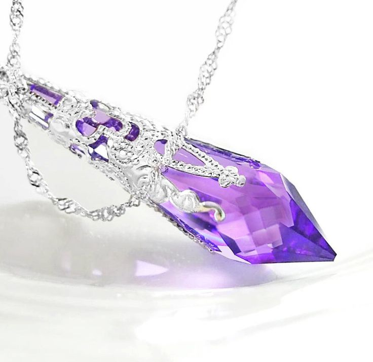 Purple Crystal Necklace Sterling Silver Necklace Swarovski Crystal Amethyst Necklace Violet Purple Pendant Necklace Victorian Jewelry by DorotaJewelry on Etsy https://www.etsy.com/listing/83826577/purple-crystal-necklace-sterling-silver