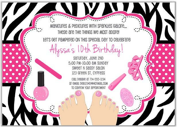 Zebra pedicure spa birthday party invitations. This adorable spa party invitation features a zebra and polka dot background. Ideal for a girl's glamour or spa birthday party. These are printed using a high quality laser printer and the finished party invitations are affordable and of outstanding quality!      Envelopes:  White envelopes are included.Sold in sets of:  Sold Individually Card Type:  Flat Card Size:  Approx. 5 x 7