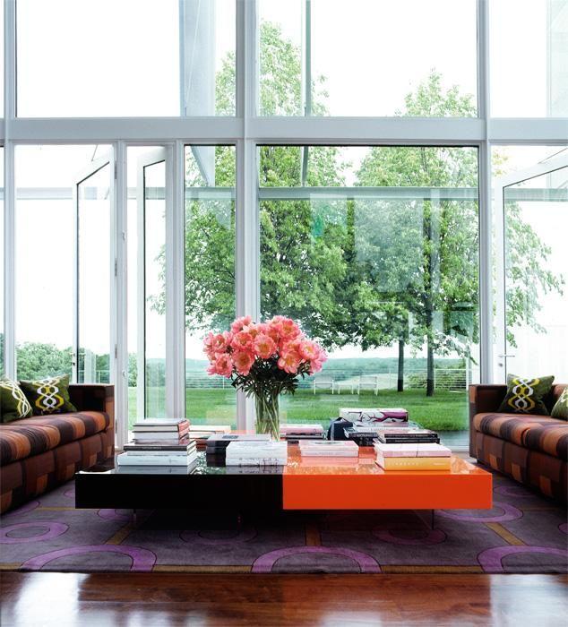windows: Big Window, Coffee Tables, Living Rooms, Elle Decor, The View, Interiors Design, Color Interiors, Memorial Tables, Flower Decor