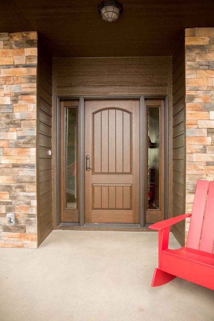 Exterior Doors Mahogany Textured Fiberglass Entry System