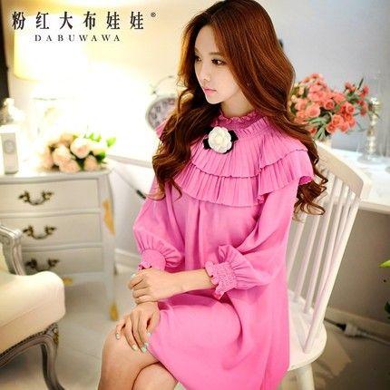 camisa de vestir de color rosa grandes muñecas de moda Hitz flores con incrustaciones collar de la manga floja falda recta -tmall.com Lynx