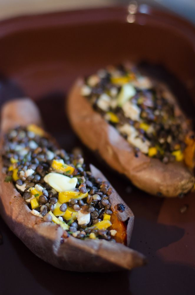Fyldte sweet potatoes
