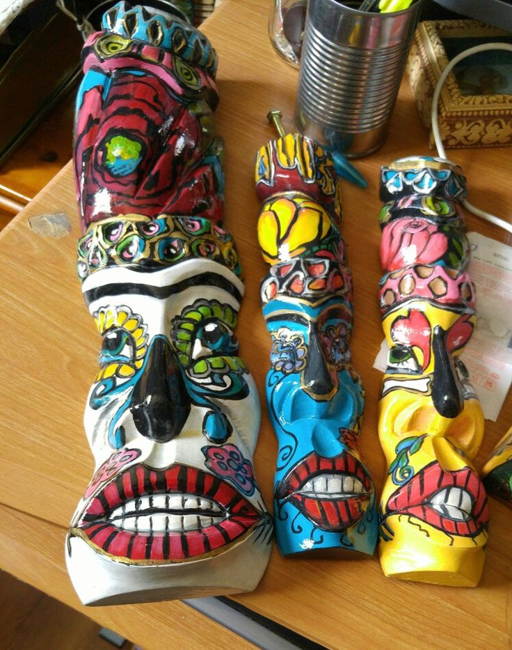 Painted totems.Repurposed.