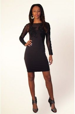 Beaded Long Sleeve Dress - $95 - Exclusively designed by Joan Dellavalle.