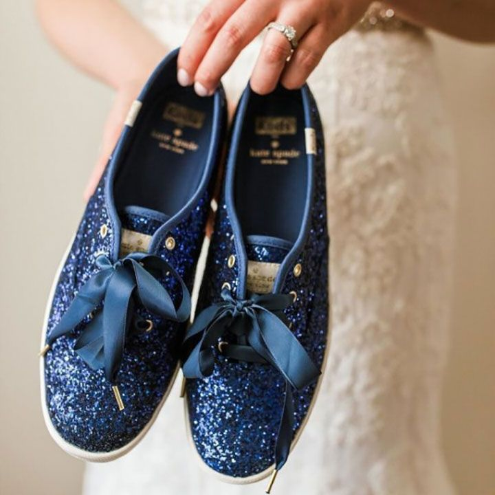 """For your something blue ~ Keds X Kate Spade New York Champion Glitter sneakers in """"Keds Blue Glitter"""""""