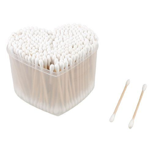 Rosallini White Makeup Wood Double Head Cotton Buds Swabs 300 Pcs w Heart Shape Case by Rosallini. $4.11. Size(Each) : 7.2 x 0.4cm/ 2.8'' x 0.16'' (L*Max.D). Material : Wood, Cotton Blends;Color : White, Beige. Package Content : 300 Pcs x Cotton Buds. Weight : 82g. Product Name : Cotton Bud;Quantity : 300±2% Pcs. Disposable for makeup remover using. Double head design, you can use for different cosmetic place. Great for removing the facial makeup.