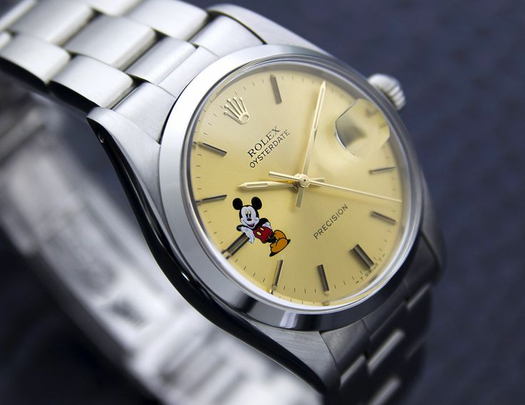 Rare Vintage MEN'S Mickey Mouse Motif Rolex 6694 ALL Stainless Steel From 1978 | eBay