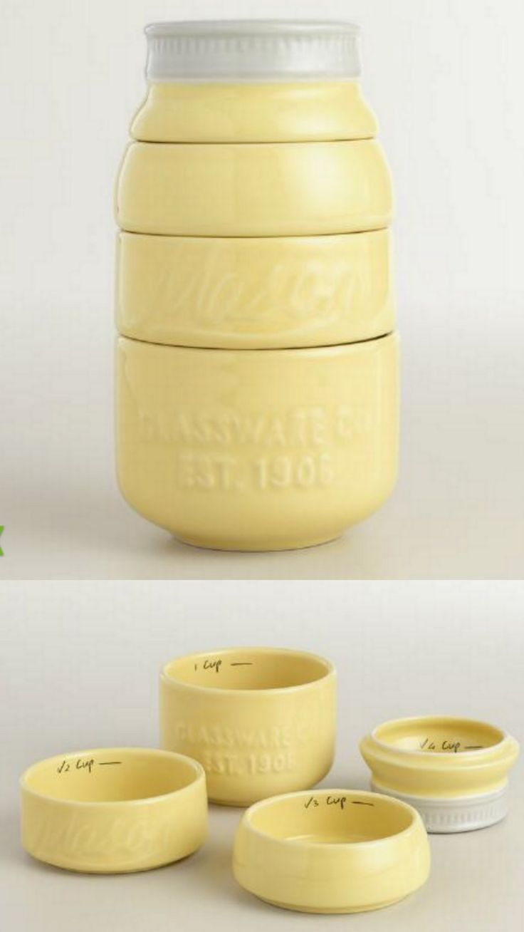 Yellow Mason Jar Measuring Cups