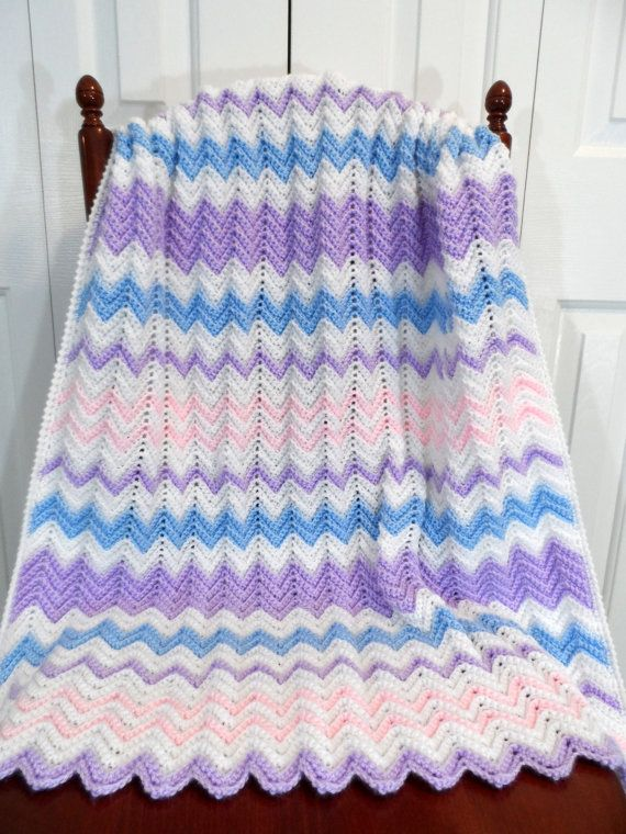 Crochet Blanket Pattern Baby Pastel Chevron by PatsCraftsShop