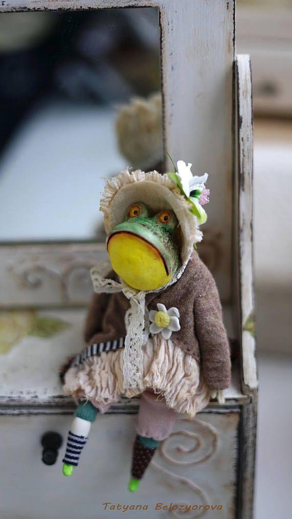 OOAK handmade art doll Interior doll FrogLittle green frog