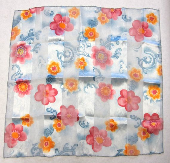Vintage Filmy Blue Scarf with Pink Golden by sweetie2sweetie, $6.99