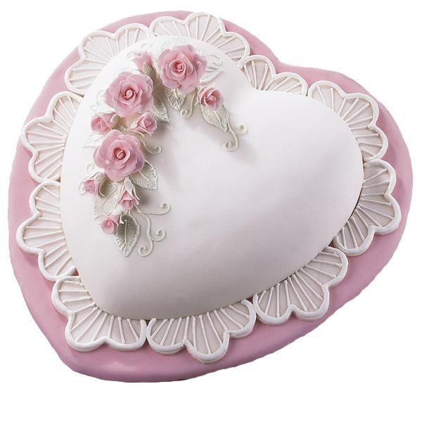 """Romantic Roses and Lace Cake - Step-saving Rose Bouquets Flower Cutter Set makes it easier  and quicker to create beautiful fondant decorations like these.  The """"embroidery"""" leaves echo the scalloped border."""