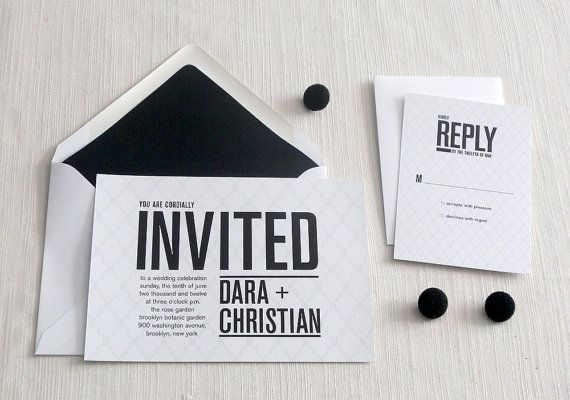nice, just needs some colorInvitations Wedding, Ideas, White Wedding, Black And White, Black White, Modern Wedding Invitations, Modern Black, Invitations Design, Contemporary Design