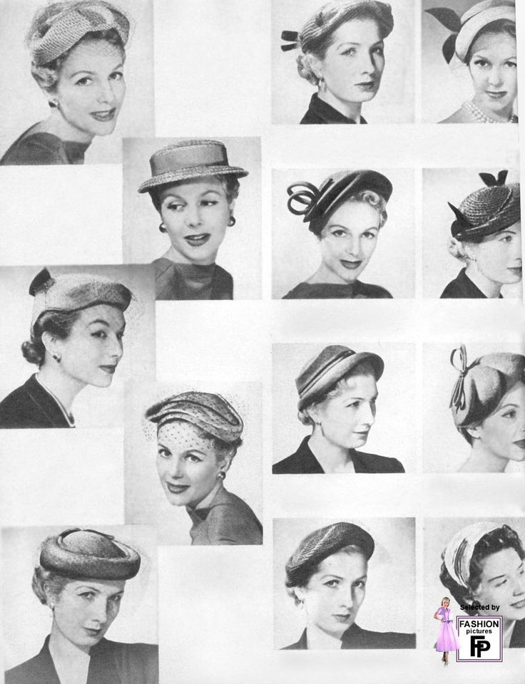 Woman's hats of the 1950's--you weren't completely dressed without a hat! Wish they would make a comeback...