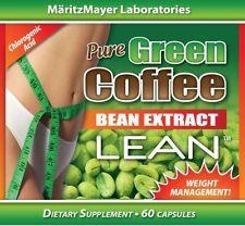 PURE GREEN COFFEE BEAN EXTRACT LEAN RASPBERRY KETONE 800MG 60 CAPSULES withGCA