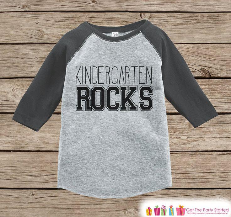 Kids School Outfit - Kindergarten Rocks - Boys Grey Raglan Kindergarten Rocks Tshirt - Kids Kindergarten Shirt - Sporty Back To School Top