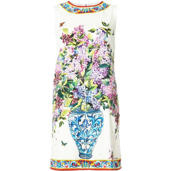 Dolce & Gabbana floral shift dress (44 680 UAH) ❤ liked on Polyvore featuring dresses, white, shift dress, white sleeveless dress, floral print dress, floral shift dresses and white floral dress