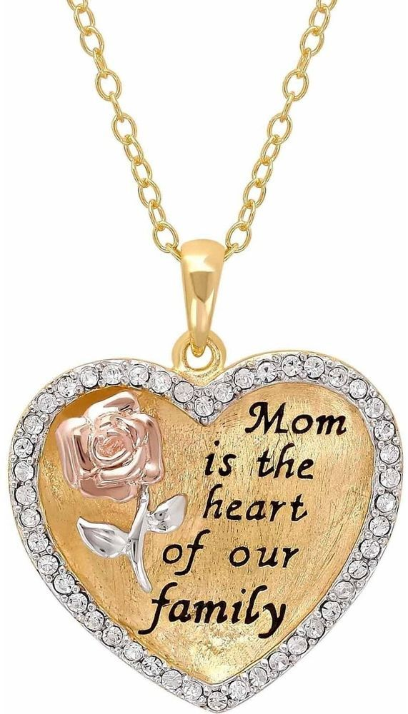 Sterling Silver And 18K Gold Plate Crystal Border 'Mom Is The Heart Of Our 18' #Generic
