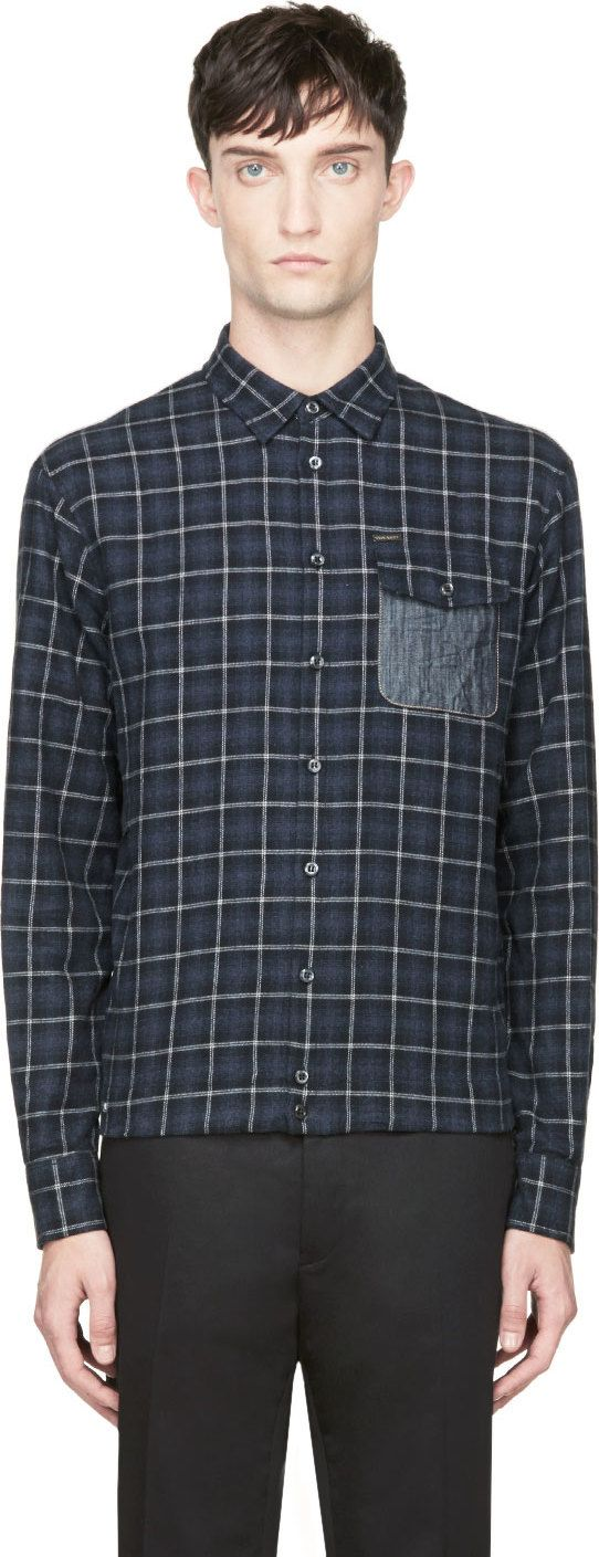 Dsquared2: Blue Flannel Combination Shirt | SSENSE