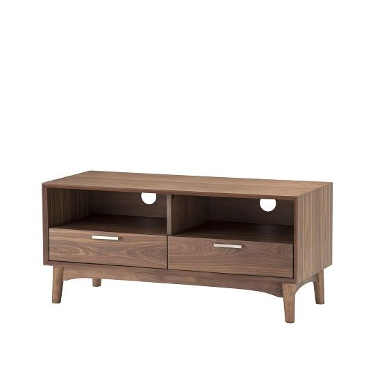 Alison Wooden Small TV Stand In Walnut With 2 Drawers