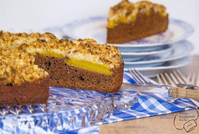 Wonder Wunderbare Küche: Schokoladen-Pfirsich-Kuchen mit Marzipanstreusel