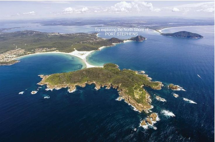 Aerial of the Port Stephens area, beautiful beaches, lakes and estuaries.