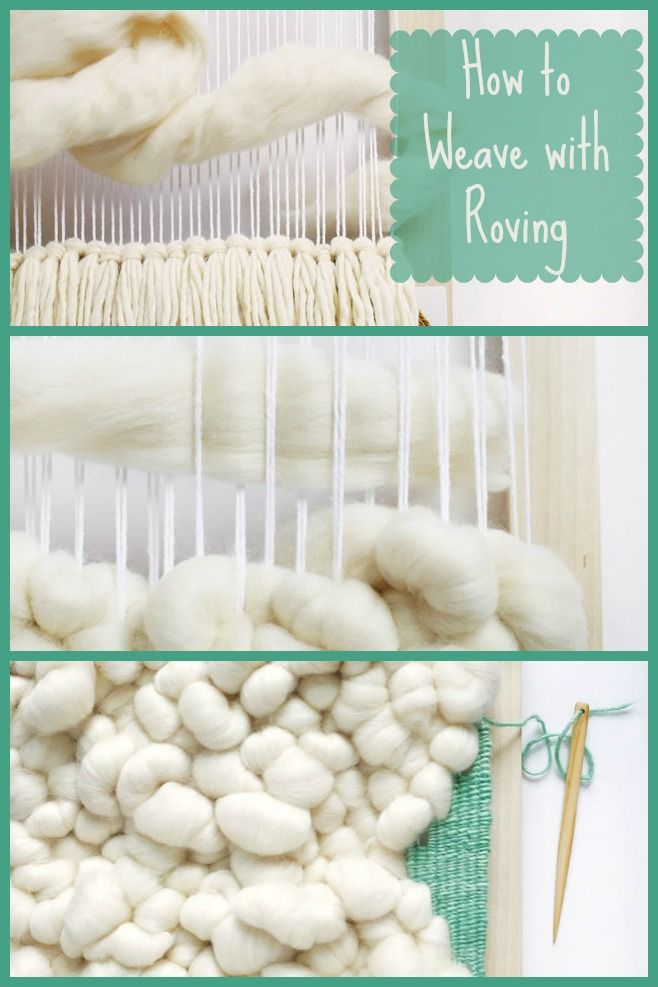 Roving is a wonderful material for tapestry weaving. It's so versatile, and soft as a cloud! Get ideas for weaving with roving in DIY Woven Art.