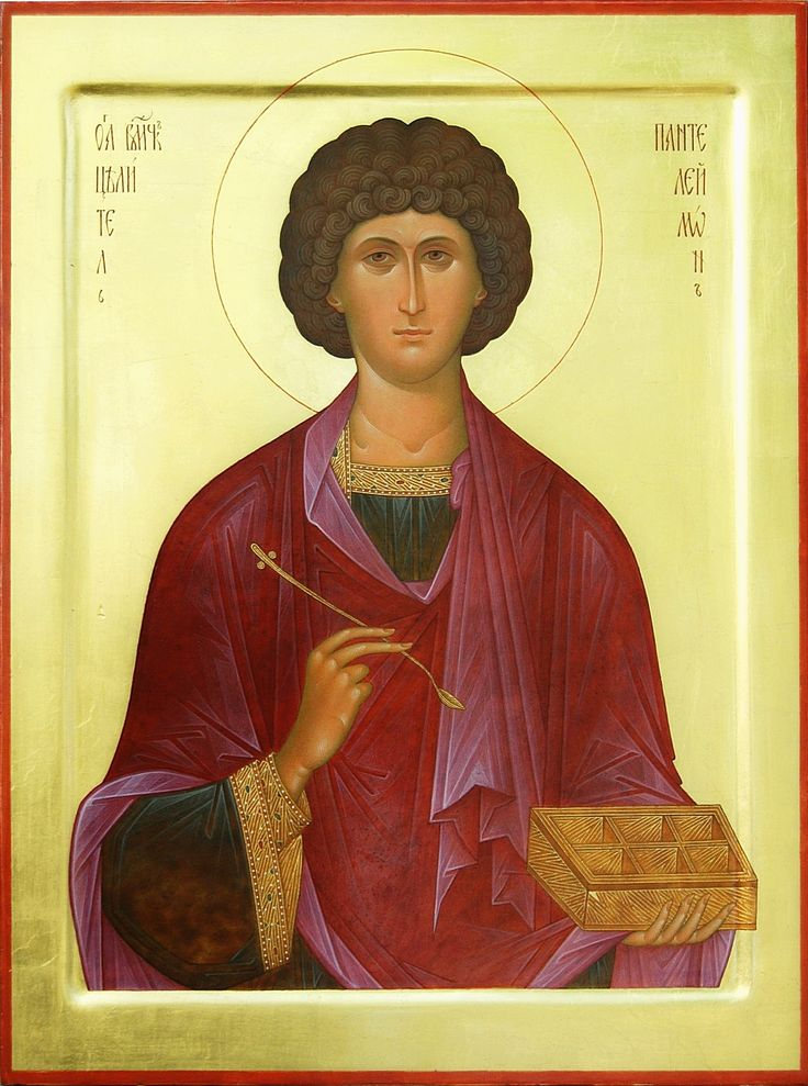 """St. great martyr Panteleimon. 2006. Wood, gesso, tempera, gilding. 19,69""""x 14,57"""". Church of the Most Holy Theotokos """"Inexhaustible Cup"""" in Brooklyn, NYC (USA)."""