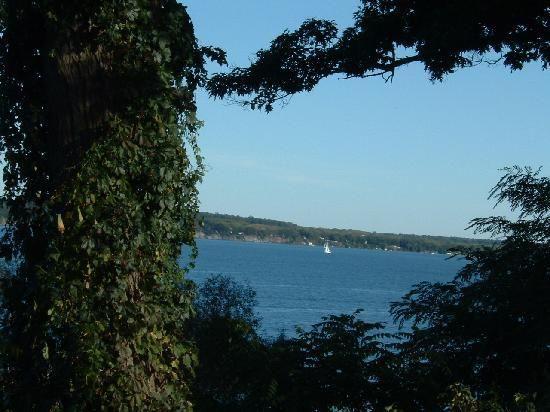 The view of Seneca Lake from Belhurst Castle in Geneva, NY.