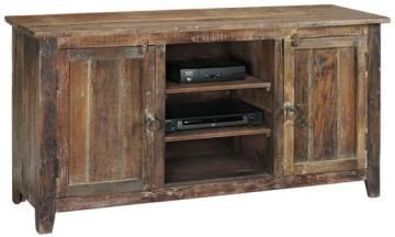 Holbrook TV Stand can add some rustic appeal to contrast a less-rustic television
