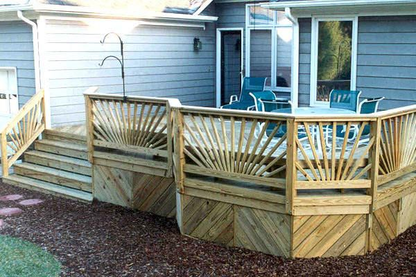 Angular Deck With Sunburst Railing And Skirting Pools